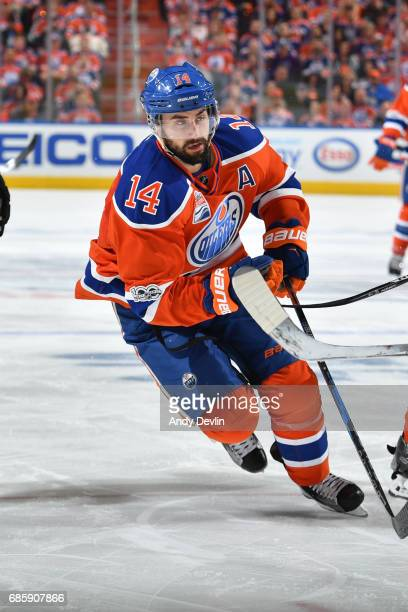 Jordan Eberle of the Edmonton Oilers skates in Game Six of the Western Conference Second Round during the 2017 NHL Stanley Cup Playoffs against the...