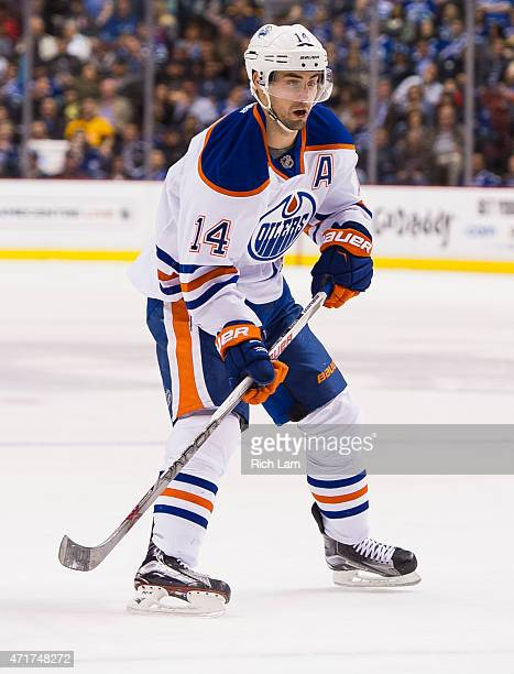 Jordan Eberle of the Edmonton Oilers skates in NHL action against the Vancouver Canucks on April 2015 at Rogers Arena in Vancouver British Columbia...