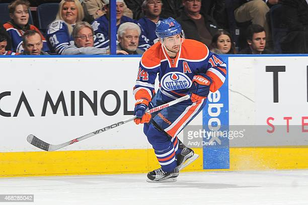 Jordan Eberle of the Edmonton Oilers skates on the ice during the game against the Toronto Maple Leafs on March 16 2015 at Rexall Place in Edmonton...