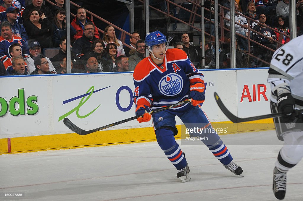Jordan Eberle #14 of the Edmonton Oilers skates on the ice in a game against the Los Angeles Kings at Rexall Place on January 24, 2013 in Edmonton, Alberta, Canada.