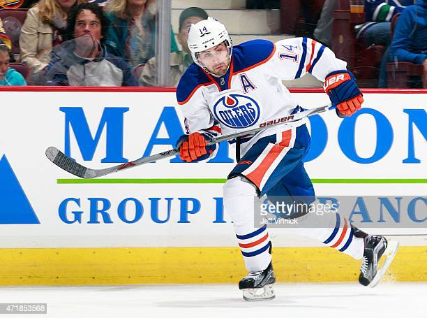 Jordan Eberle of the Edmonton Oilers skates up ice during their NHL game against the Vancouver Canucks at Rogers Arena April 11 2015 in Vancouver...