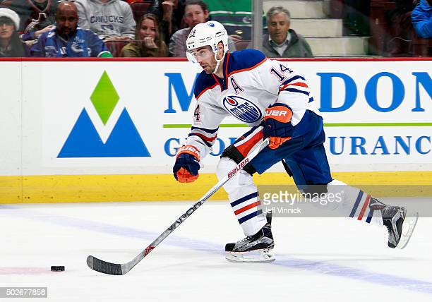 Jordan Eberle of the Edmonton Oilers skates up ice during their NHL game against the Vancouver Canucks at Rogers Arena December 26 2015 in Vancouver...