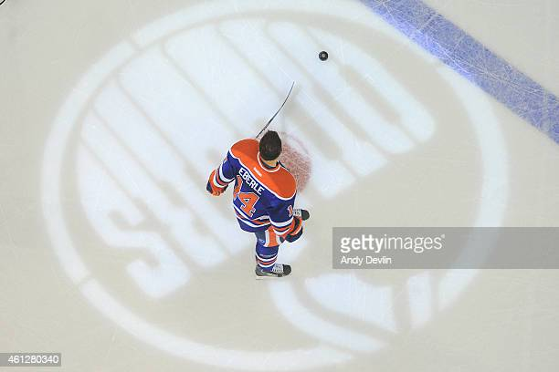 Jordan Eberle of the Edmonton Oilers warms up prior to the game against the Detroit Red Wings on January 6 2015 at Rexall Place in Edmonton Alberta...