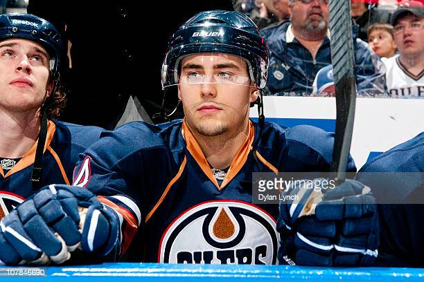 Jordan Eberle of the Edmonton Oilers watches from the bench prior to a game against the Colorado Avalanche at Rexall Place on December 30 2010 in...
