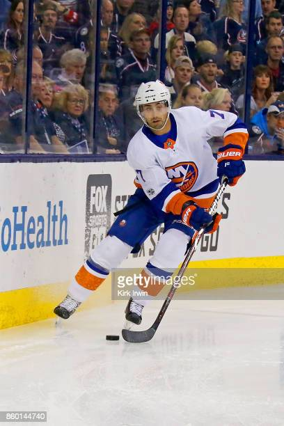 Jordan Eberle of the New York Islanders controls the puck during the game against the Columbus Blue Jackets on October 6 2017 at Nationwide Arena in...