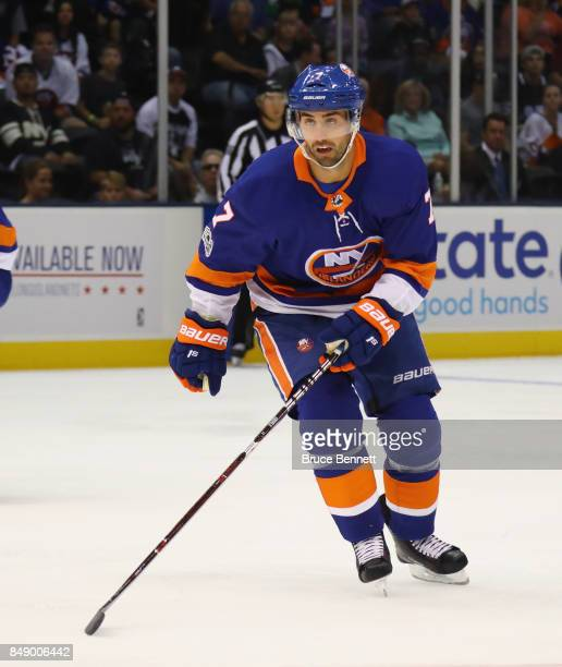 Jordan Eberle of the New York Islanders skates against the Philadelphia Flyers during a preseason game at the Nassau Veterans Memorial Coliseum on...