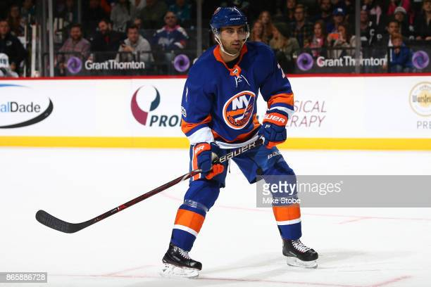 Jordan Eberle of the New York Islanders skates against the San Jose Sharks at Barclays Center on October 21 2017 in New York City