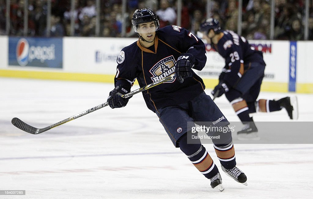 <a gi-track='captionPersonalityLinkClicked' href=/galleries/search?phrase=Jordan+Eberle&family=editorial&specificpeople=4898161 ng-click='$event.stopPropagation()'>Jordan Eberle</a> #7 of the Oklahoma City Barons skates against the Lake Erie Monsters during their game on October 12, 2012 at Quicken Loans Arena in Cleveland, Ohio. The Monsters defeated the Barons 2-1.