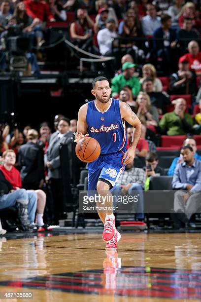 Jordan Farmar of the Los Angeles Clippers drives against the Portland Trail Blazers on October 12 2014 at the Moda Center Arena in Portland Oregon...