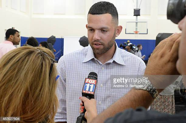 Jordan Farmar of the Los Angeles Clippers speaks to the media during a press conference on July 10 2014 at the Los Angeles Clippers Training Facility...
