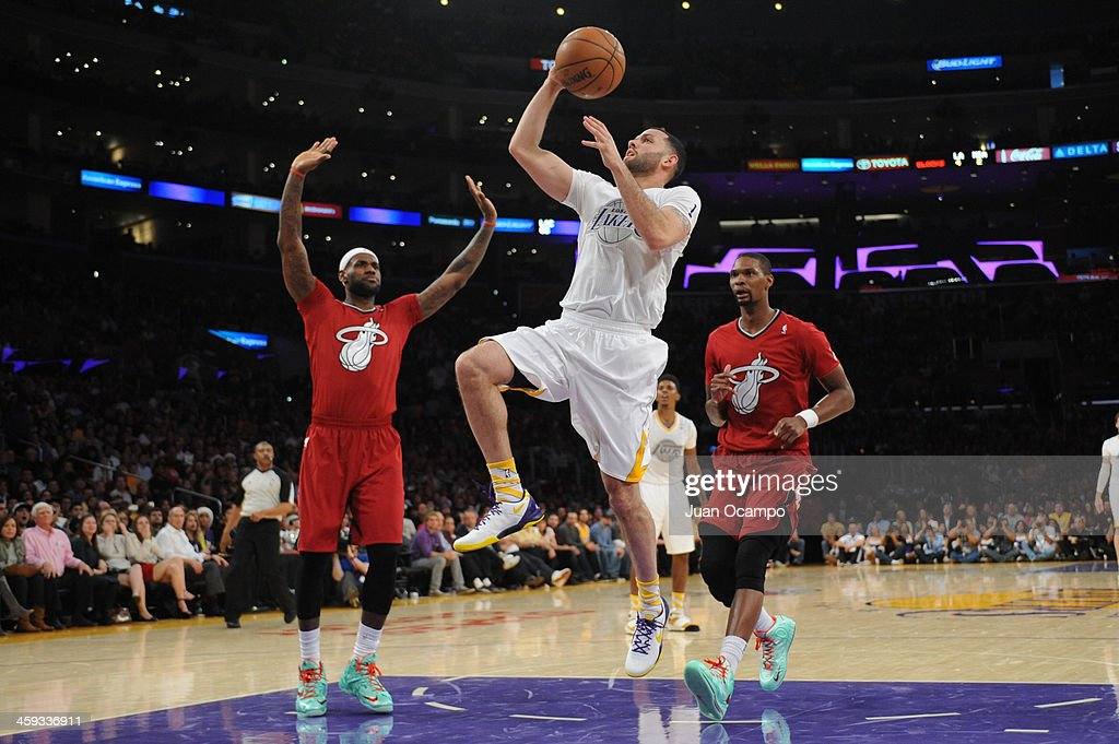<a gi-track='captionPersonalityLinkClicked' href=/galleries/search?phrase=Jordan+Farmar&family=editorial&specificpeople=228137 ng-click='$event.stopPropagation()'>Jordan Farmar</a> #1 of the Los Angeles Lakers attempts a shot during a game against the Miami Heat at STAPLES Center on December 25, 2013 in Los Angeles, California.