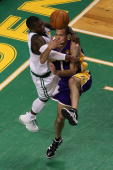 Jordan Farmar of the Los Angeles Lakers drives against Nate Robinson of the Boston Celtics during Game Five of the 2010 NBA Finals on June 13 2010 at...