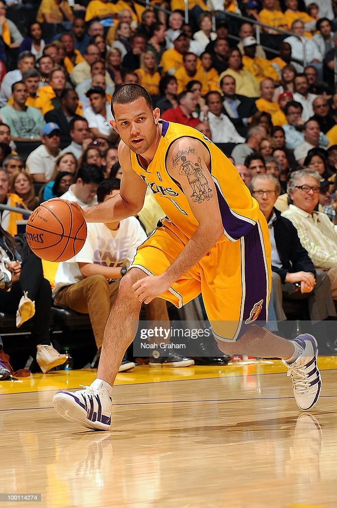 Jordan Farmar #1 of the Los Angeles Lakers drives against the Phoenix Suns in Game One of the Western Conference Finals during the 2010 NBA Playoffs on May 17, 2010 at Staples Center in Los Angeles, California. The Lakers won 128-107.