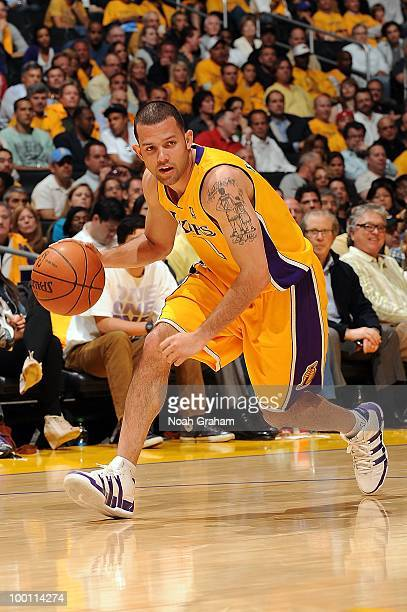 Jordan Farmar of the Los Angeles Lakers drives against the Phoenix Suns in Game One of the Western Conference Finals during the 2010 NBA Playoffs on...
