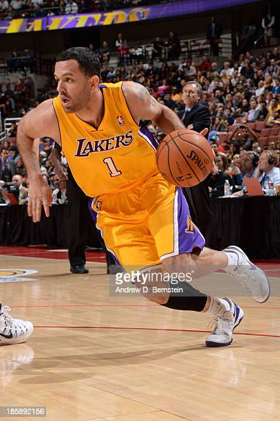 Jordan Farmar of the Los Angeles Lakers drives to the basket during a preseason game against the Utah Jazz at the Honda Center in Anaheim California...