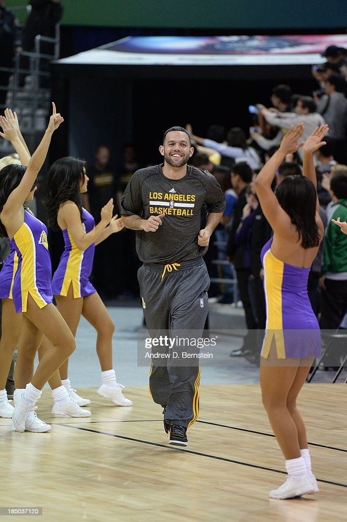Jordan Farmar of the Los Angeles Lakers is introduced during Fan Appreciation Day as part of the 2013 Global Games on October 17, 2013 at the Oriental Sports Center in Shanghai, China.