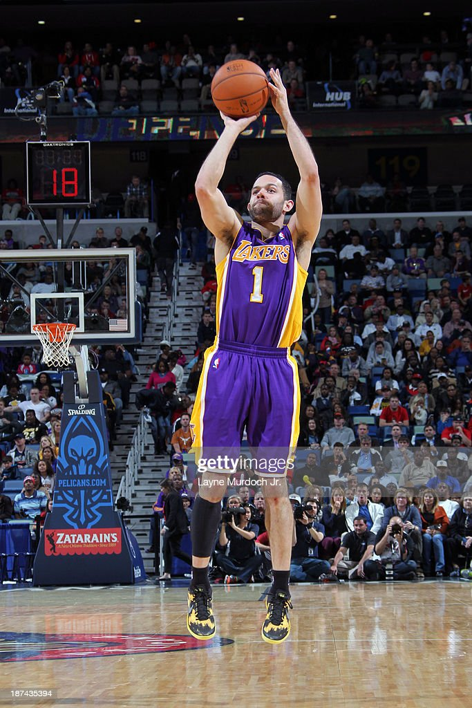 <a gi-track='captionPersonalityLinkClicked' href=/galleries/search?phrase=Jordan+Farmar&family=editorial&specificpeople=228137 ng-click='$event.stopPropagation()'>Jordan Farmar</a> #1 of the Los Angeles Lakers shoots the ball against the New Orleans Pelicans on November 8, 2013 at the New Orleans Arena in New Orleans, Louisiana.