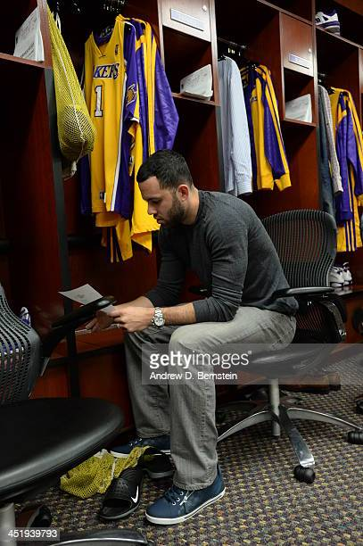 Jordan Farmar of the Los Angeles Lakers sits in the locker room before a game against the Golden State Warriors on November 22 2013 at STAPLES Center...