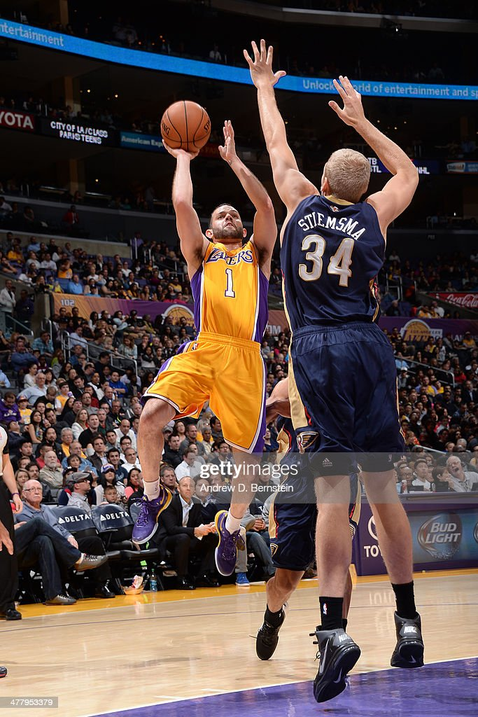 <a gi-track='captionPersonalityLinkClicked' href=/galleries/search?phrase=Jordan+Farmar&family=editorial&specificpeople=228137 ng-click='$event.stopPropagation()'>Jordan Farmar</a> #1 of the Los Angeles Lakers takes a shot against the New Orleans Pelicans at Staples Center on March 4, 2014 in Los Angeles, California.