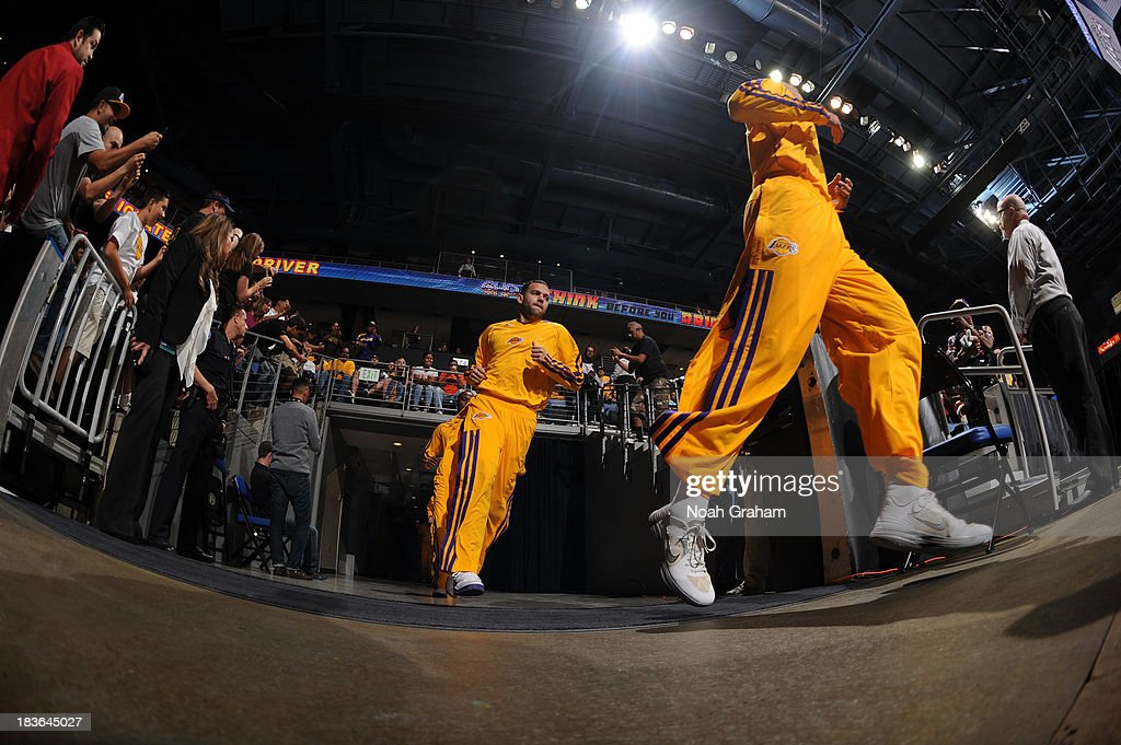 <a gi-track='captionPersonalityLinkClicked' href=/galleries/search?phrase=Jordan+Farmar&family=editorial&specificpeople=228137 ng-click='$event.stopPropagation()'>Jordan Farmar</a> #1 of the Los Angeles Lakers takes the floor prior to the game against the Golden State Warriors at Citizens Business Bank Arena on October 5, 2013 in Ontario, California.