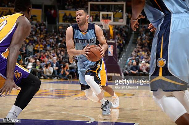 Jordan Farmar of the Memphis Grizzlies drives to the basket against the Los Angeles Lakers on March 22 2016 at STAPLES Center in Los Angeles...