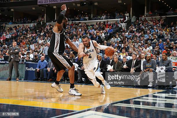 Jordan Farmar of the Memphis Grizzlies drives to the basket against the San Antonio Spurs on March 28 2016 at FedExForum in Memphis Tennessee NOTE TO...