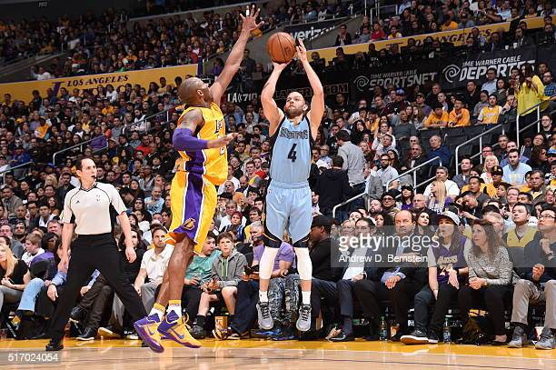 Jordan Farmar of the Memphis Grizzlies shoots against Kobe Bryant of the Los Angeles Lakers on March 22 2016 at STAPLES Center in Los Angeles...