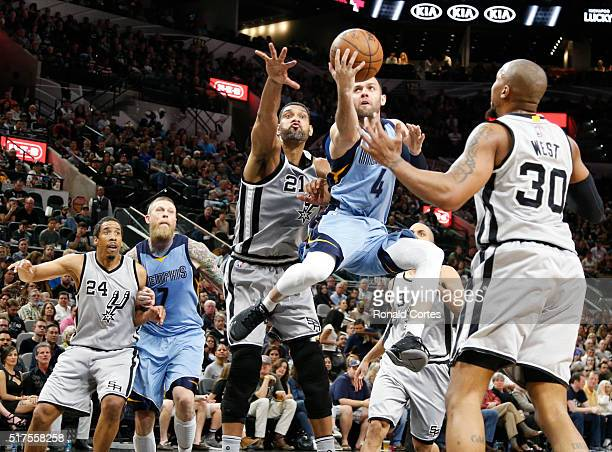 Jordan Farmar of the Memphis Grizzlies shoots in front of Tim Duncan of the San Antonio Spurs at ATT Center on March 25 2016 in San Antonio Texas...