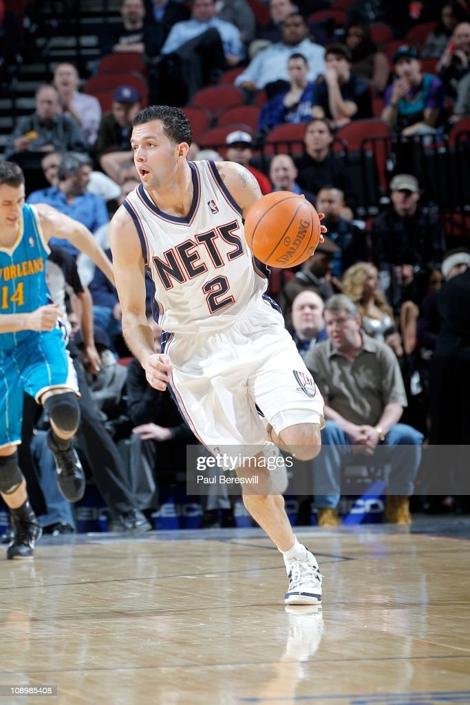 <a gi-track='captionPersonalityLinkClicked' href=/galleries/search?phrase=Jordan+Farmar&family=editorial&specificpeople=228137 ng-click='$event.stopPropagation()'>Jordan Farmar</a> #2 of the New Jersey Nets moves the ball against the New Orleans Hornets of the New Orleans Hornets against of the New Jersey Nets on February 9, 2011 at the Prudential Center in Newark, New Jersey.