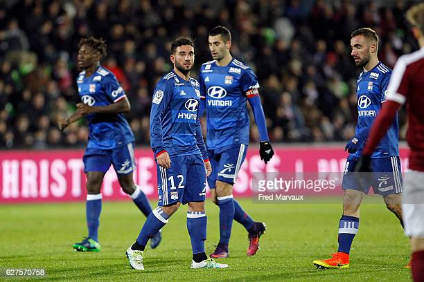 Jordan Ferri and Maxime Gonalons of Lyon during the Ligue 1 match between FC Metz and Olympique Lyonnais at Stade SaintSymphorien on December 3 2016...