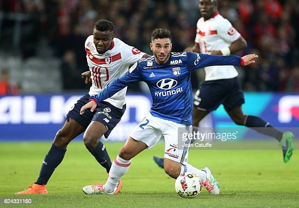 Jordan Ferri of Lyon and Ibrahim Amadou of Lille in action during the French Ligue 1 match between Lille OSC and Olympique Lyonnais at Stade...