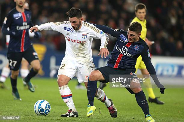 Jordan Ferri of Lyon and Marco Verratti of PSG in action during the French League Cup match between Paris SaintGermain and Olympique Lyonnais at Parc...