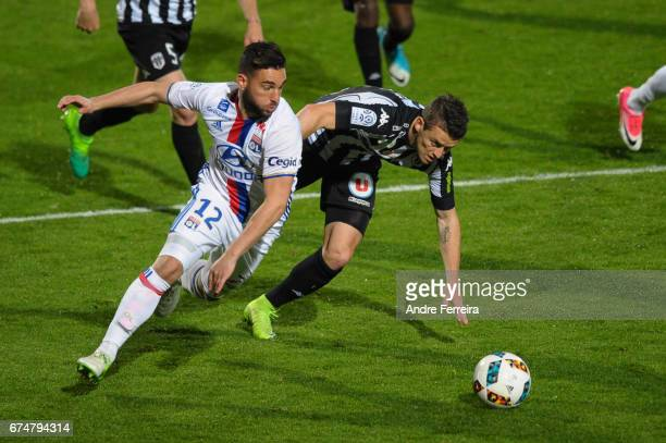Jordan Ferri of Lyon and Pierrick Capelle of Angers during the French Ligue 1 match between Angers and Lyon on April 28 2017 in Angers France