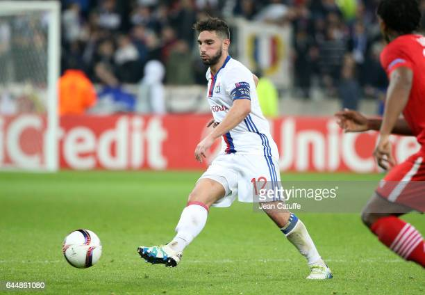 Jordan Ferri of Lyon in action during the UEFA Europa League Round of 32 second leg match between Olympique Lyonnais and AZ Alkmaar at Parc OL on...