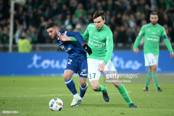 Jordan Ferri of Lyon Ole Selnaes of Saint Etienne during the Ligue 1 match between As Saint Etienne and Olympique Lyonnais Lyon at Stade...