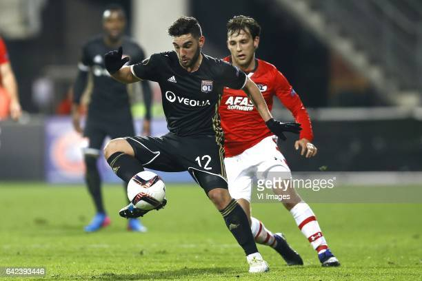 Jordan Ferri of Olympique Lyon Joris van Overeem of AZ Alkmaarduring the UEFA Europa League round of 32 match between AZ Alkmaar and Olympique...