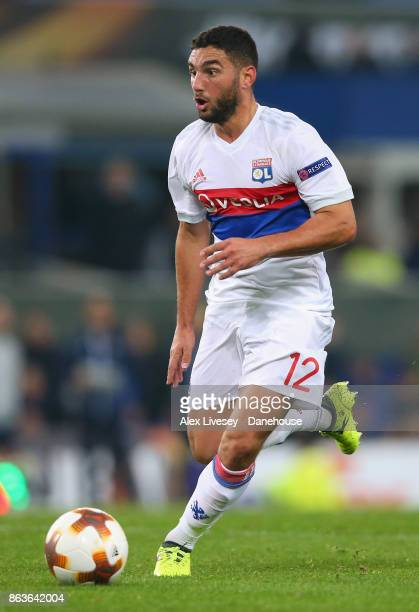 Jordan Ferri of Olympique Lyon runs with the ball during the UEFA Europa League group E match between Everton FC and Olympique Lyon at Goodison Park...