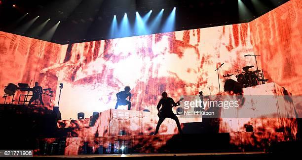 Jordan Fish Oliver Sykes Matt Kean Matt Nicholls and Lee Malia of Bring Me The Horizon perform at Sheffield Arena on November 6 2016 in Sheffield...