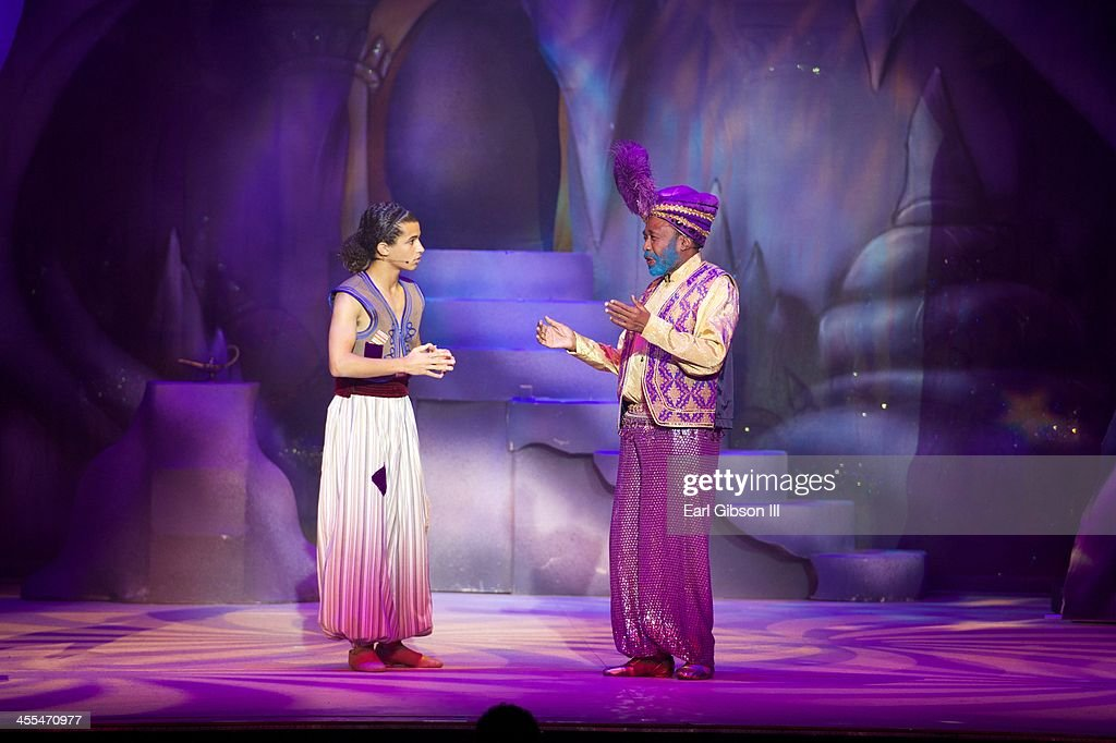 Jordan Fisher and <a gi-track='captionPersonalityLinkClicked' href=/galleries/search?phrase=Ben+Vereen&family=editorial&specificpeople=241224 ng-click='$event.stopPropagation()'>Ben Vereen</a> perform in 'Aladdin And His WInter Wish' Opening Night at Pasadena Playhouse on December 11, 2013 in Pasadena, California.