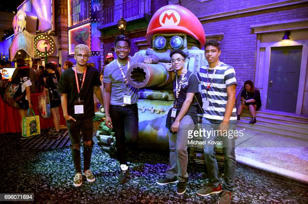 Jordan Fisher Dexter Darden Mykel Williams and Kade Cannon visit the Nintendo booth at the 2017 E3 Gaming Convention at Los Angeles Convention Center...