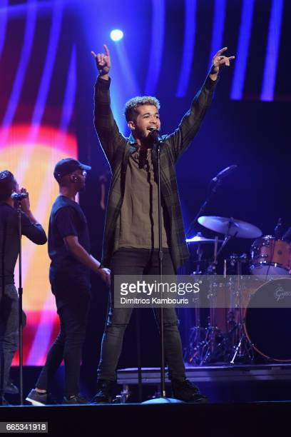 Jordan Fisher performs on stage during WE Day New York Welcome to celebrate young people changing the world at Radio City Music Hall on April 6 2017...