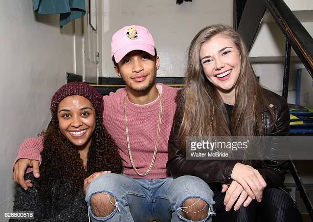 Jordan Fisher the newest cast member of 'HAMILTON' with cast members Sasha Hollinge and Eliza Ohman backstage before a matinee performance at the...