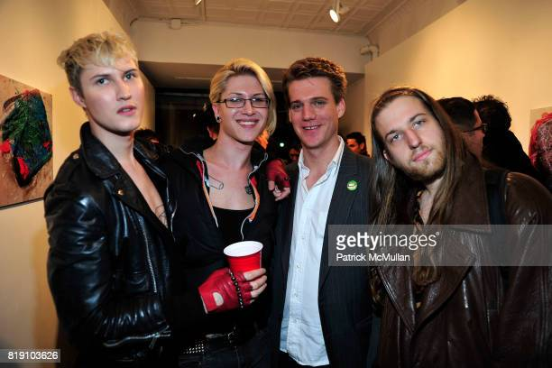 Jordan Fox Dani Daniels Dustin Wayne Harris and Coppa attend DUSTIN WAYNE HARRIS Photo Exhibit 'Cake Mixx' at Heist Gallery on March 11 2010 in New...