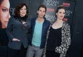 Jordan Garvaris Maria Doyle Kennedy and Evelyn Brochu attend the 'Orphan Black' premiere at Sunshine Cinema on April 17 2014 in New York City
