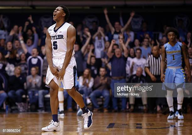 Jordan Gathers of the Butler Bulldogs celebrates after a three point shot during the game against the Marquette Golden Eagles at Hinkle Fieldhouse on...