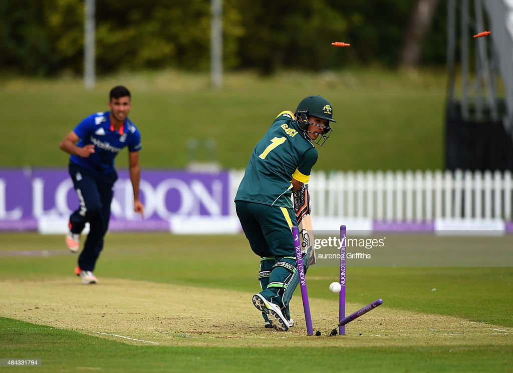 Jordan Gauci of Australia is bowled by Saqib Mahmood of England during the U19 One Day International match between England U19 and Australia U19 at...