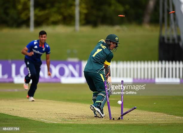 Jordan Gauci of Australia is bowled by Saqib Mahmood of England during the U19 One Day International match between England U19 and Australia U19 at...