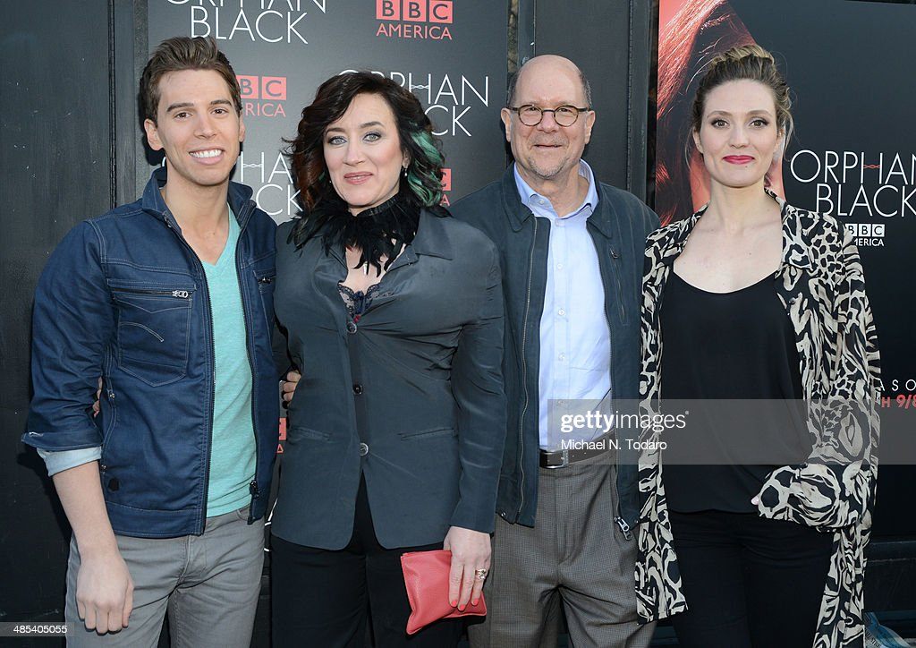 Jordan Gavaris Maria Doyle Kennedy Perry Simon and Evelyn Brochu attend the 'Orphan Black' premiere at Sunshine Cinema on April 17 2014 in New York...