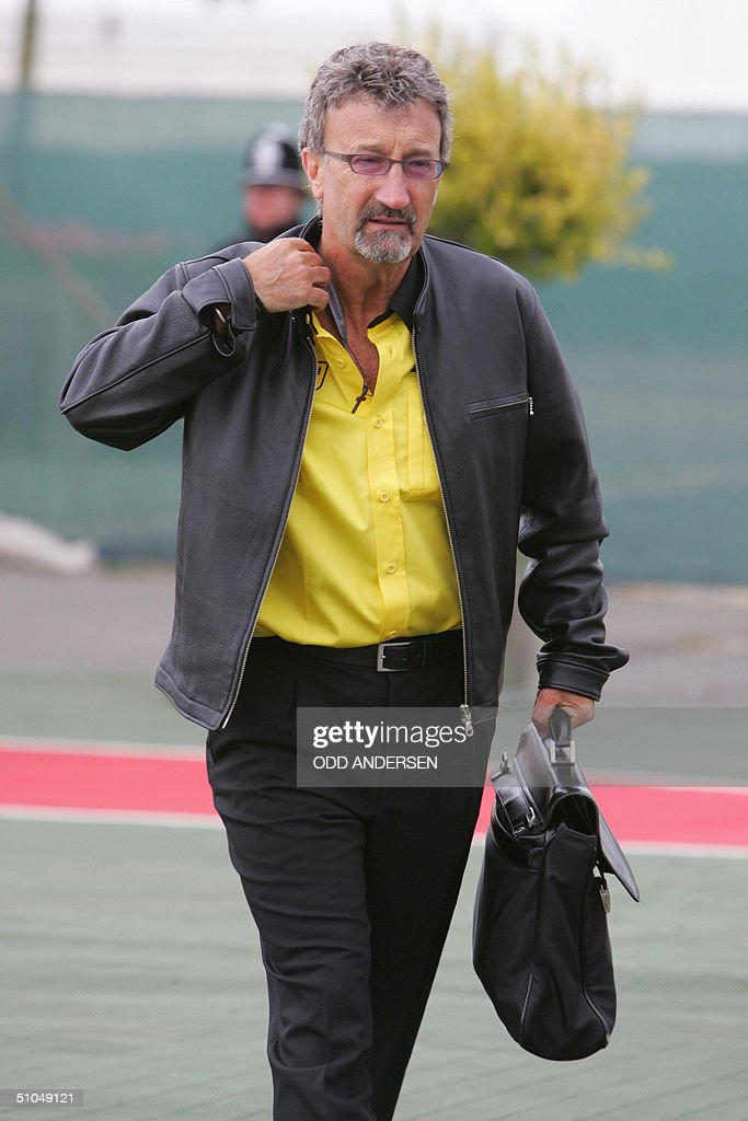 Jordan general manager Eddie Jordan arrives at the Silverstone racetrack for practice sessions on the eve of the British Grand Prix 10 July 2004 in...