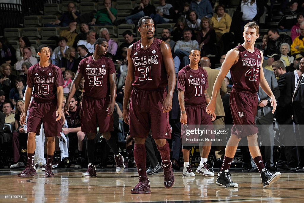 Jordan Green #13, Ray Turner #35, Elston Turner #31, J'Mychal Reese #11, and Jarod Jahns #42 of the Texas A&M Aggies play against the Vanderbilt Commodores at Memorial Gym on February 16, 2013 in Nashville, Tennessee.